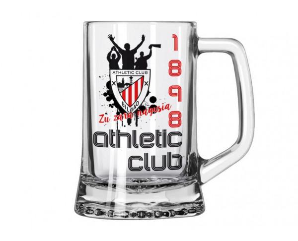 Jarra grande de cristal para cerveza Athletic Club Bilbao 1898
