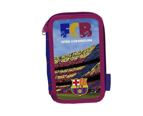 Estuche escolar tres pisos FC Barcelona con 40 piezas