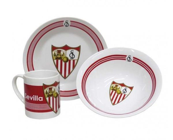 Conjunto desayuno Sevilla FC tres piezas de porcelana