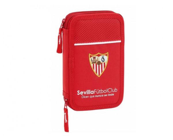 Estuche dos pisos del Sevilla FC con material escolar