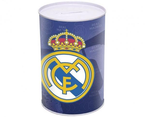 Hucha metálica del Real Madrid forma cilindro