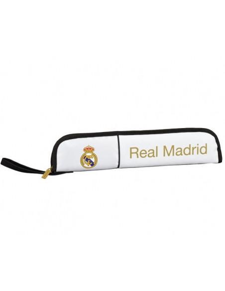 Estuche portaflauta Real Madrid blanca y dorada