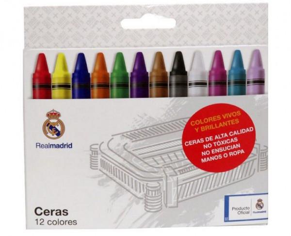 Caja con 12 ceras de colores del Real Madrid