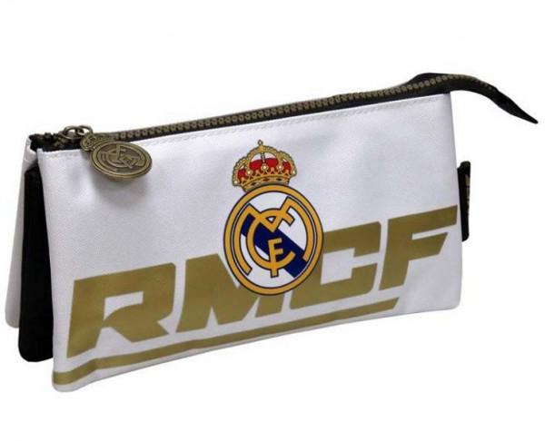 Estuche triple Real Madrid de color blanco y dorado 2019-20