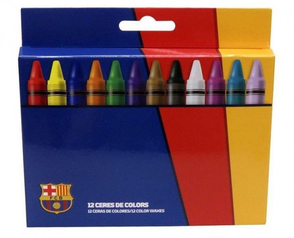 Caja con 12 ceras de colores del FC Barcelona