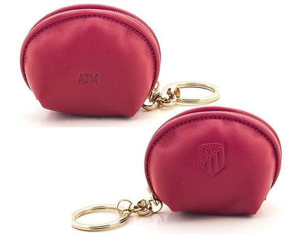 Monedero de piel con llavero Atlético de Madrid rojo