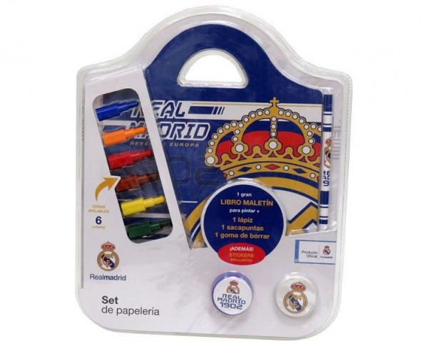 Pack de papeleria libro maletin con ccesorios Real Madrid