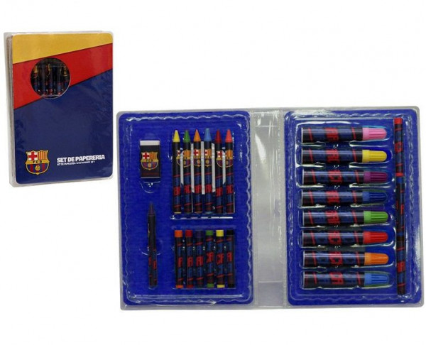 Caja tipo maletín con accesorios escolares FC Barcelona