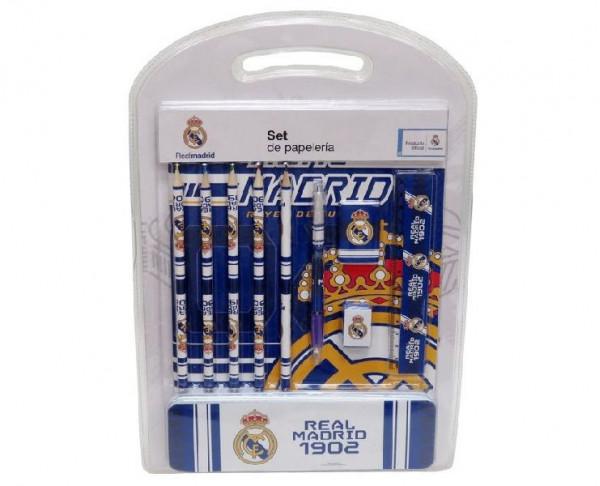 Pack de regalo escolar Real Madrid con estuche metálico