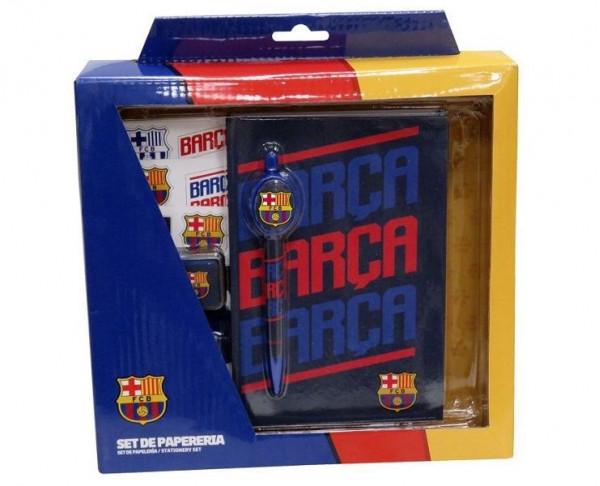 Set de papeleria FC Barcelona en caja de regalo