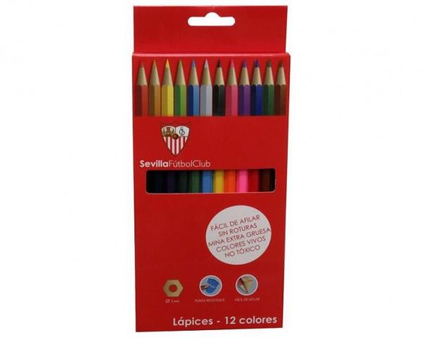 Caja con 12 pinturas lápiz de colores Sevilla FC