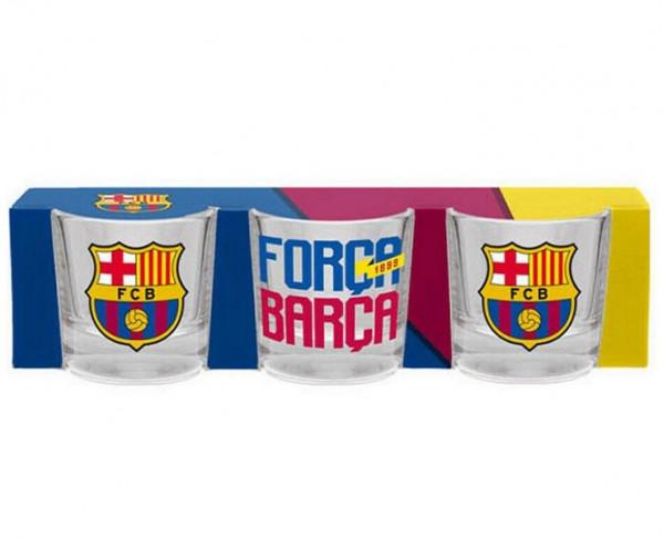 Pack tres chupitos de cristal FC Barcelona