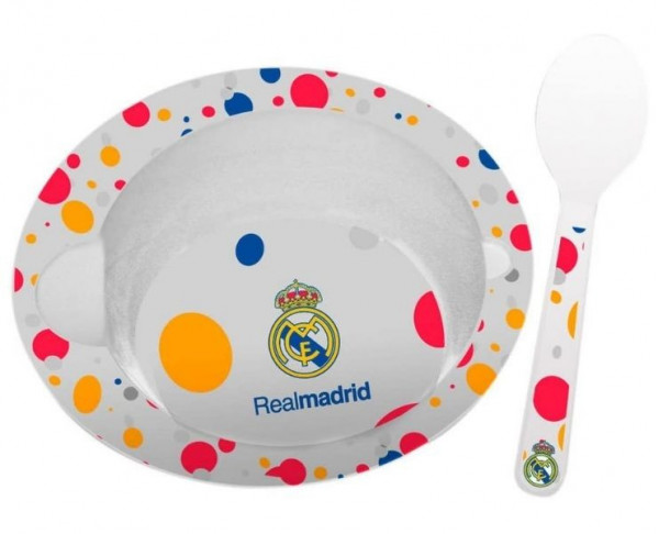 Cuenco y cuchara de melamina para bebé Real Madrid