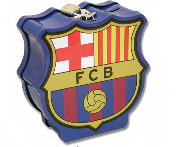 Hucha metálica en relieve con forma escudo del FC Barcelona