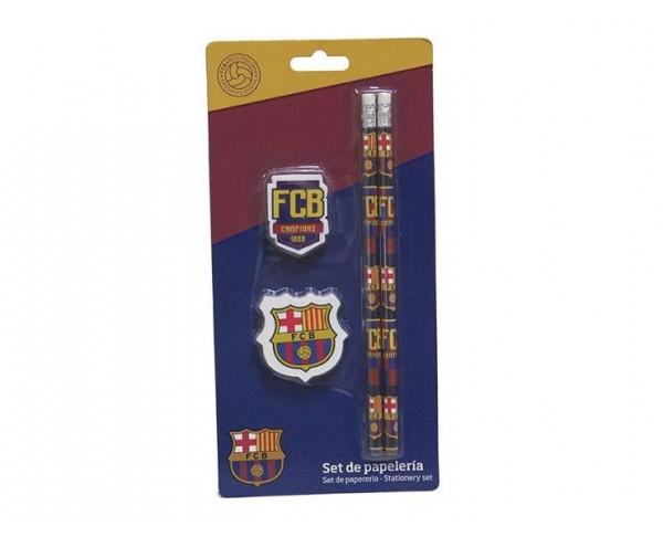 Pack escolar FC Barcelona lapicero goma y sacapuntas