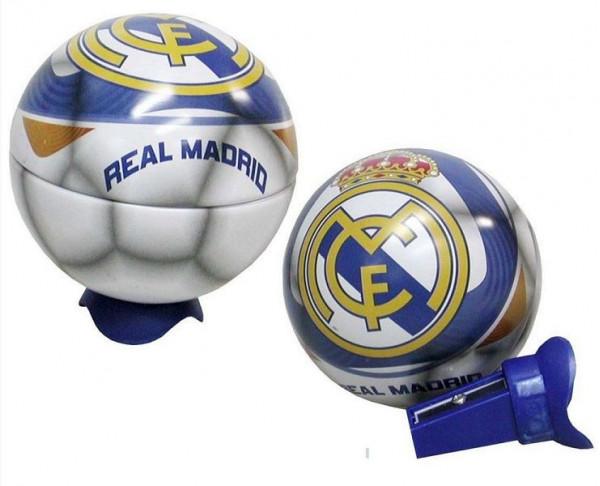 Sacapuntas metálico con forma de balón del Real Madrid