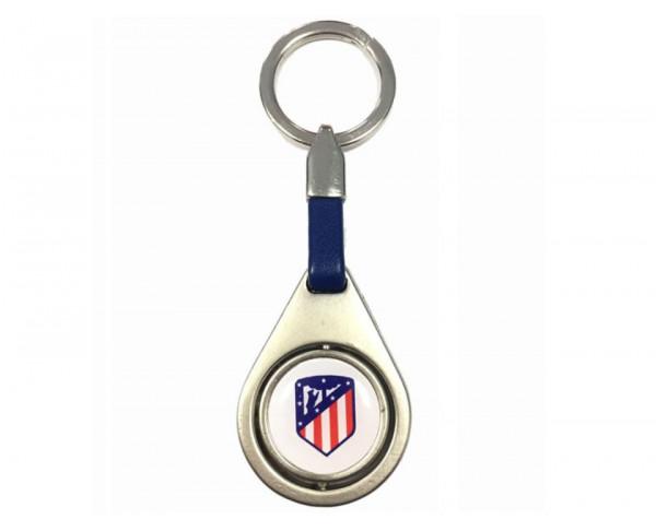 Llavero Atlético de Madrid ovalado cuero azul