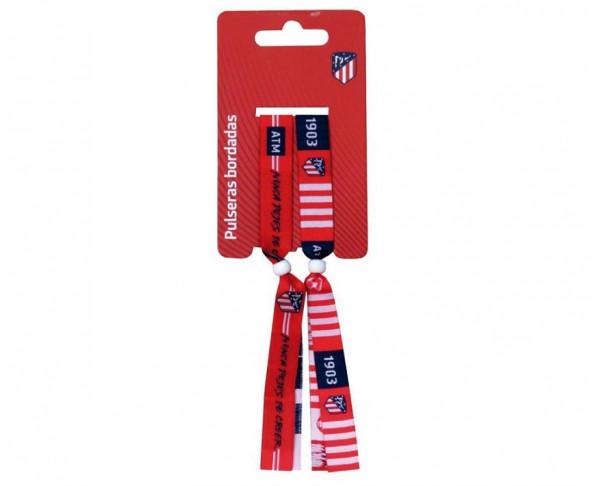 Pack 2 pulseras de tela Atlético de Madrid