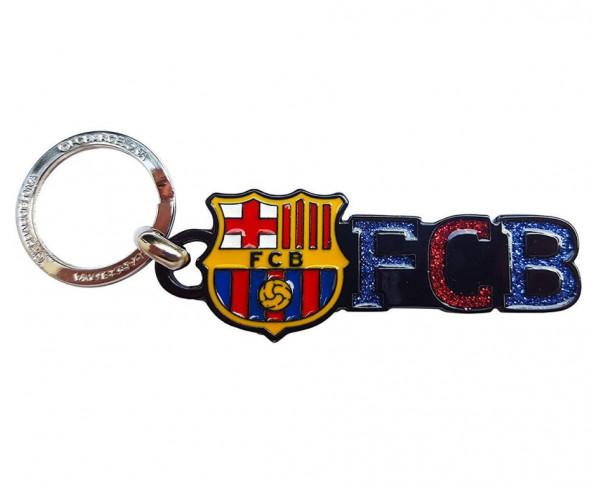 Llavero metálico FC Barcelona con escudo purpurina