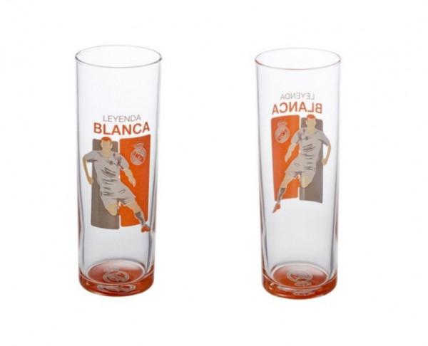 Vaso de cristal tubo alto Real Madrid leyenda blanca