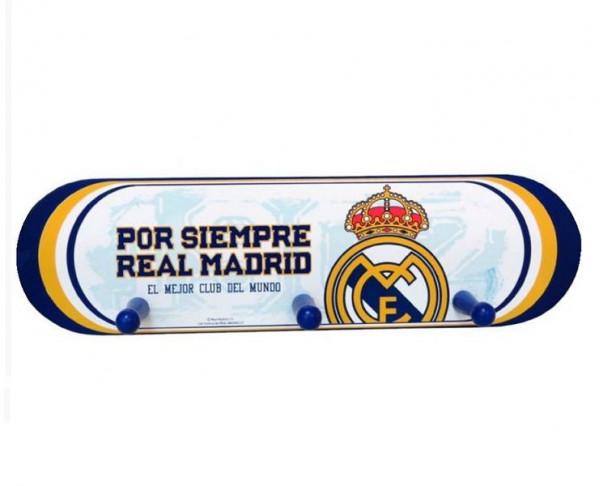 Perchero de maderacon tres ganchos Real Madrid