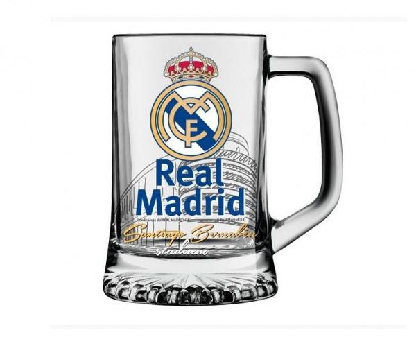 Jarra de cristal Real Madrid para cerveza Santiago Bernabéu