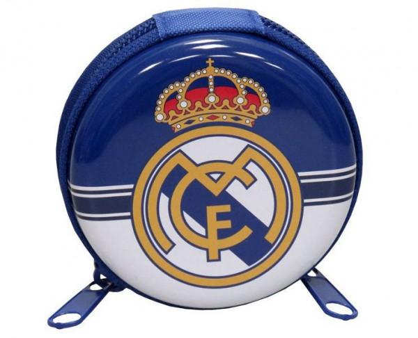 Monedero metálico Real Madrid con cierre de cremallera